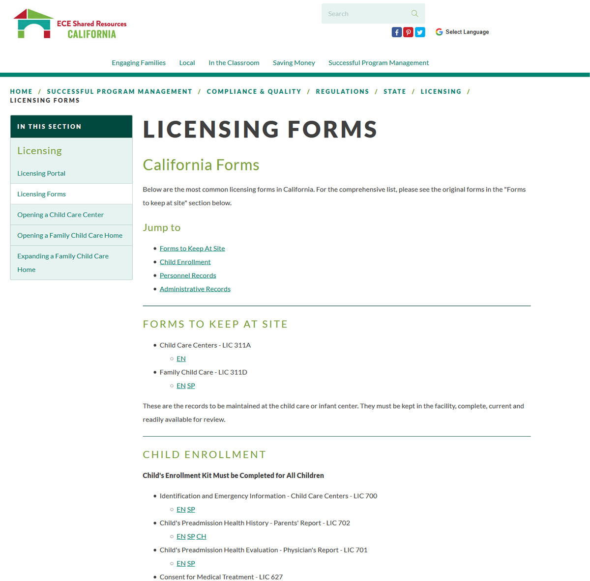 California Licensing Forms Page